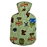 Warm Tradition CAMPING FLANNEL CHILDREN'S Covered Hot Water Bottle - Bottle made in Germany, Cover made in USA