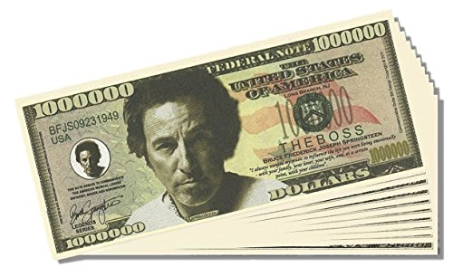 Bruce Springsteen Million Dollar Bill - 10 Count with Bonus Clear Protector & Christopher Columbus Bill