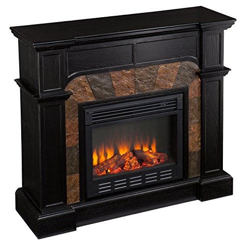Southern Enterprises Cartwright Ebony Convertible Faux Slate Electric Fireplace
