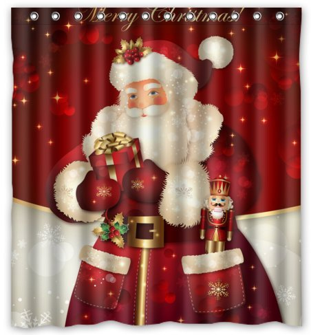 [Unique Custom Merry Christmas Dreamlike the Santa Claus Waterproof fabric Polyester Shower Curtain 66