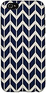 Snoogg Navy White Line Waves 2502 Designer Protective Back Case Cover For App...