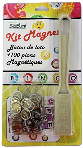 Bâton magnétique + 100 pions de loto bingo ivoire