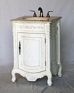 24 inch antique white wood single sink bathroom vanity for 24 reclaimed wood vanity