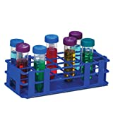 Bel-Art Scienceware 187470004 Polypropylene No-Wire Test Tube Rack for 30mm Tube, 21 Place, Blue