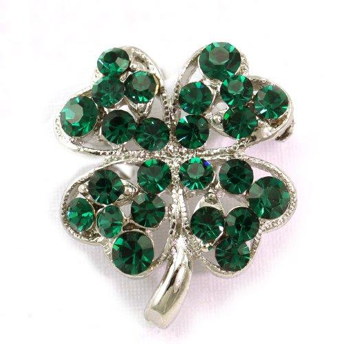 [St. Patrick's Day Good Luck Charm Green Four Leaf Shamrock Clover Pin Brooch] (St Patricks Day Shamrocks)