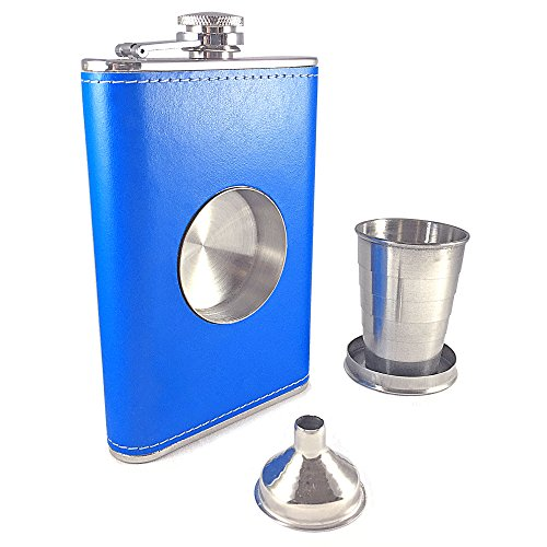 Shot Flask - Dirty Mack's 8oz Blue Patent Leather Stainless Steel 8 Ounce Hip Whiskey Flask Gift Set with Collapsible Retractable Steel Cup and Easy Pour Funnel - Great Wedding or Anniversary Gift