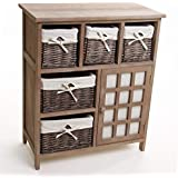 Meuble en bois 5 tiroirs paniers en osier avec housses amovibles + 1 porte