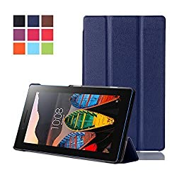 Lenovo Tab 3 7.0 Case, Lenovo Tab 3 Essential Case, Pasonomi Ultra Slim Lightweight PU Leather Folio Case Stand Cover for Lenovo Tab 3 Essential 7.0 710F 7-Inch Tablet 2016 Release (Dark Blue)