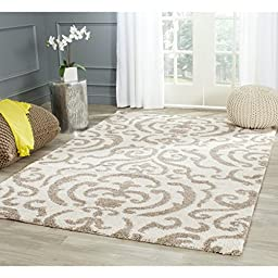 Safavieh Florida Shag Collection SG462-1113 Cream and Beige Area Rug, 4 feet by 6 feet (4\' x 6\')