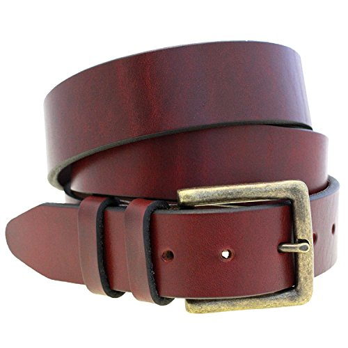 "Orion Leather 1 1/2"" Burgundy Latigo Leather Belt Antique Brass Finish Buckle Made In USA"
