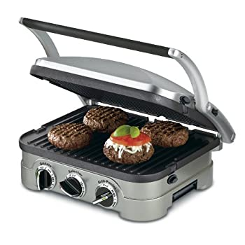 Compact in size but big in features, Cuisinart's countertop Griddler offers five-in-one functionality as a contact grill, panini press, full grill, full griddle, and half grill/half griddle. The stylish brushed stainless-steel housing looks sleek ...