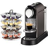 Nespresso CitiZ Titan Gray Automatic Espresso Maker with Bonus Chrome 40 Capsule Carousel