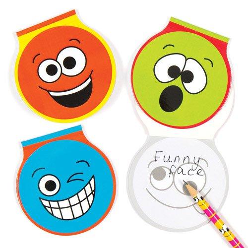Blocchetti con faccine divertenti per bambini e bambine. Piccoli block-notes, perfetti per sacchetti regalo per feste di bambini (confezione da 6)