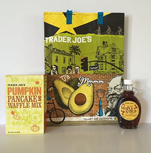 Trader Joes Pumpkin Pancake and Waffle Mix and Trader Joe's 100% Maple Syrup, a TJ's Reusable Southern Cali Grocery Tote + A Bonus Free Organic Sweet Coffee Recipe from Z-Organics Bundle (4 items) (Trader Joes Truffle Salt compare prices)