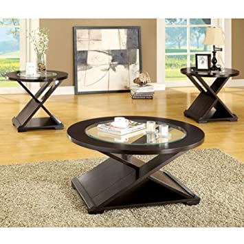 Orbe Contemporary Style Espresso Finish 3-Piece Coffee Table & End Table Set