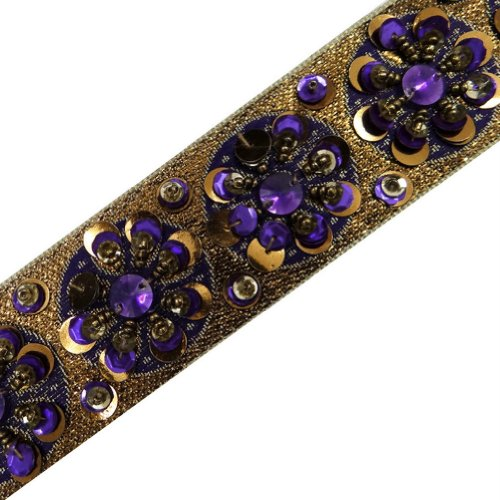 Purple Hand Beaded Trim Metallic Jacquard Base Ribbon Border Women Lace 4.5 Yd Freeshipping