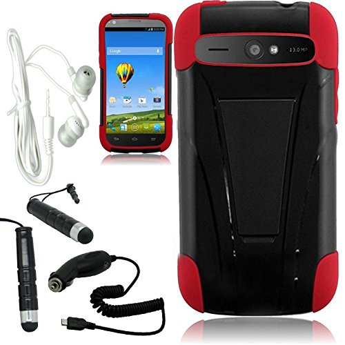 [Arena] Black Red Hybrid T Stand Cover Fitted Hard Gel Case For Zte Warp Sync N9515 + Free Arena Accessory Kit