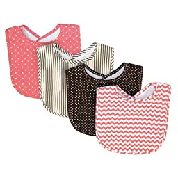 Trend Lab Cocoa Coral Bib Set, Coral Pink, 4 Count