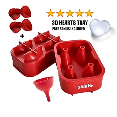 SNIGLE SILICONE ICE/CHOCOLATE MOLD, 5CM 3D HEART MAKER ?FREE BONUS Silicone Funnel and 4 Heart Silicone Cupcake Liners?great with water, chocolate, smoothie, jelly, juice, fruit and more
