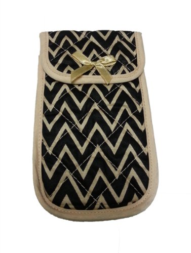 "Fabric Eyeglass Case Holder With Velcro Closure, Size 3.75"" X 6.5"" Zigzag Print, Black Brow Color front-507630"