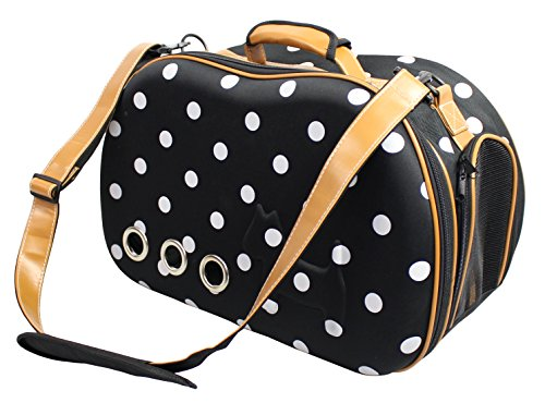 Fashion Dotted Venta-Shell Perforated Collapsible Military Grade Designer Pet Carrier, Navy Blue, White, One Size
