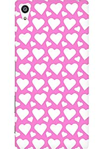 AMEZ designer printed 3d premium high quality back case cover for Sony Xperia Z5 Plus (light pink white hearts)