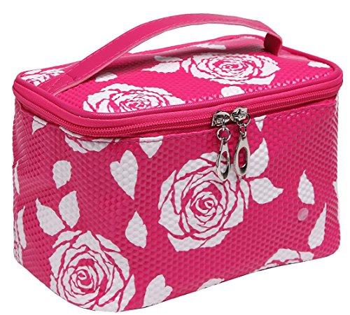Magictodoor Makeup Train Case Cosmetic Bag Travel Storage Case Small Make up Bag X-157-1meihong