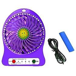 Casotec Handhold Rechargeable Mini USB Ventilator Desk / Portable Fan - Purple