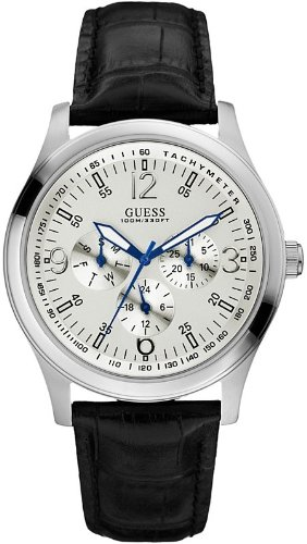 Discount GUESS Black Croc Embossed Leather Mens Watch ...