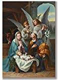 Box of 10 Blessed Art Thou Nativity with Angels Christmas Cards