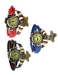 Felizo Combo Offer Pack Of 3 Multi Strap Fancy Butterfly Bracelet Vintage Watch (Red, Brown & Blue)