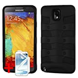 SAMSUNG GALAXY NOTE 3 BLACK SPINE RIB CAGE HYBRID COVER HARD GEL PROTECTOR CASE + SCREEN PROTECTOR from PREFERRED FASHION NETWORK