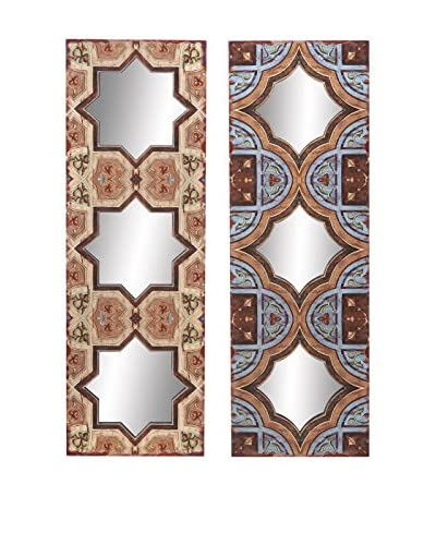 Set Of 2 Wood Mirror Wall Décor