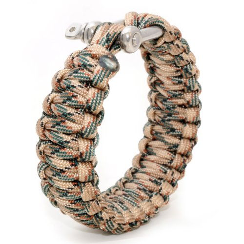 Universally usable to the Survival-Rope Braided Bracelet (compact) made from Tear-Resistant Parachute cord , , (550 PaRACORD cord Kernmantel rope of Nylon and Rust-Proof Metal Screw Length: 3.6 Meter (aufgeflochten), Colour: beige / Green PaRACORD Important: This cable is not suitable for climbing Ganzoo by Ganzoo