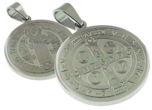 28 MM Round San Benito - Saint Benedict Catholic Medal - 1.1 Inches Diam