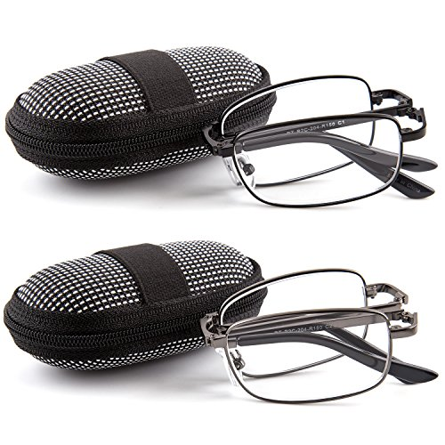 doubletake-2-pairs-foldable-readers-in-portable-nylon-zip-cases-folding-reading-glasses-150x