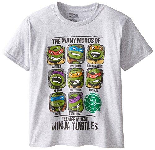 Teenage Mutant Ninja Turtles Big Boys' The Many Moods Of A Ninja Turtles Graphic Tee, Athletic Heather, Large