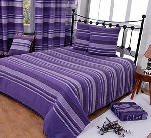 homescapes jet de lit jet de canap violet rayures de 260 x 360 cm en pur coton appartenant. Black Bedroom Furniture Sets. Home Design Ideas