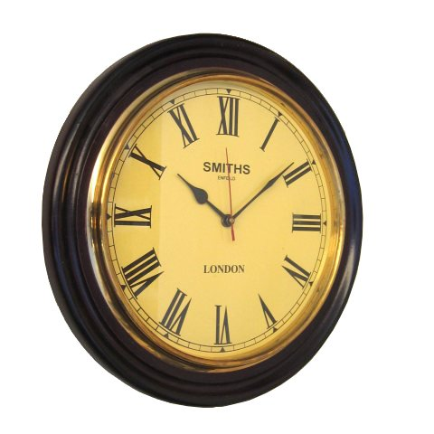 Round Wall Clock with Hardwood Frame, Gold-tone Face and Roman Numerals - 16