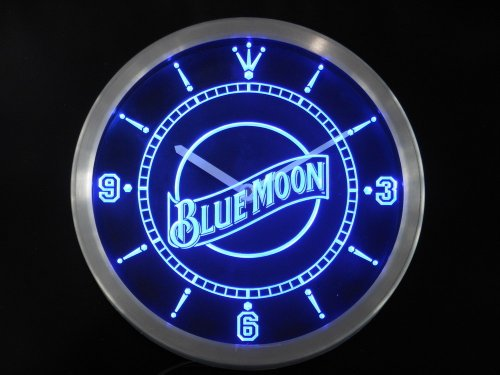 LED Neon Light Wall Clock BLUE MOON #1 BEER Bar Cafe Pub Restaurant - Free Shipping