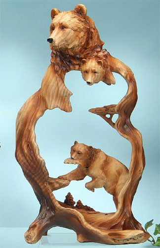 Unison Gifts Bear with Fish Carving (Wood Carving Bear compare prices)