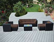 Hot Sale ohana collection PN0807BR Genuine Ohana Outdoor Patio Wicker Furniture 8-Piece All Weather Gorgeous Couch Set with Free Patio Cover