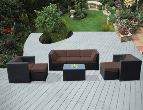 ohana collection PN0807BR Genuine Ohana Outdoor Patio Wicker Furniture 8-Piece All Weather Gorgeous Couch Set with Free Patio Cover picture