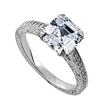 buy 14K White Gold Cathedral Vintage Style Cubic Zirconia Hand Engraved Engagement Ring 1.8Mm Wide