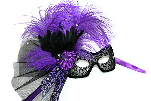Crowe w/feathered Crow Scary Women's Purple Feathered Masquerade Mask
