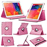 Hot Pink/White Rotating Case for Samsung Galaxy Tab Pro 10.1 (2014 Edition, T520 / T525) PU Leather Cover Smart 360 Stand Free Screen Protector & Stylus by iChoose®