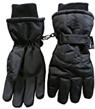 NIce Caps Kids Bulky Thinsulate and Waterproof Ski Glove With Ridges (10-12yrs, Black Solid)