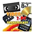 Video-2-PC DIY Video Capture Kit. For Windows 8.1, 8, 7, Vista & XP. Links your VCR or Camcorder to the USB port on your PC. Copy, Convert, Transfer: VHS, Video-8, VHS-C, Hi8, Digital8, & MiniDV video tapes to digital format H.264, MPEG, MPEG-2, MPEG-4 & uncompressed AVI files & burn to DVD. Tested with Windows 8.1 & Windows 7 32 & 64 bit, Vista & XP. 14 day refund offer if not completely delighted.
