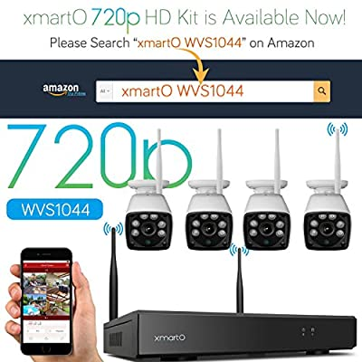 [AUTO-PAIR] xmartO WOS1344 4CH 960p HD Wireless Security Camera System with 4x960p HD WiFi Night Vision Outdoor IP Cameras (Built-in Router, 1.3MP Camera, IP66, 80ft IR, No HDD)