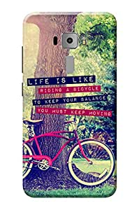 Zenfone 3 Cover KanvasCases Premium Quality Designer Printed 3D Lightweight Slim Matte Finish Hard Case Back Cover for Asus Zenfone 3 ZE520KL ( 5.2 Inch ) + Free Mobile Viewing Stand